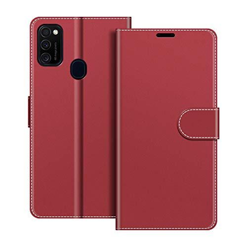 COODIO Handyhülle für Samsung Galaxy M21 Handy Hülle, Samsung Galaxy M21 Hülle Leder Handytasche für Samsung Galaxy M21 Klapphülle Tasche, Rot