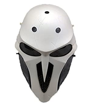 Gmasking 2018 Reaper Adult Cosplay Airsoft Wire Mesh Paintball Mask 1 1 Props  White