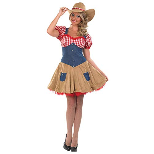 Womens Cowboy Costume Wild West Rodeo Western Cowgirl Dress - X-Large