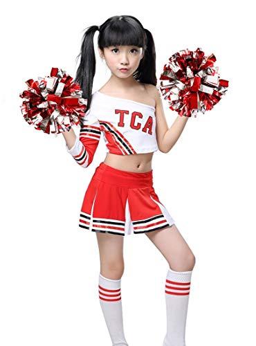 LOLANTA Mädchen Red Cheerleader Kostüm Kinder Cheerleader Uniform mit Socken Poms (134/140 (8-9 Jahre))