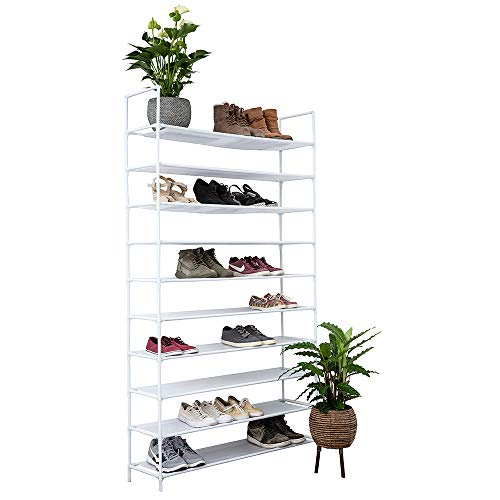 IVOL Deluxe Schuhregal XXL Schuhablage für 50 Paar Schuhe Schuhschrank mit 10 Ebenen HxBxT: 178x100x29,5 cm, Schuhständer Höhenverstellbar Wasserfest, weiß