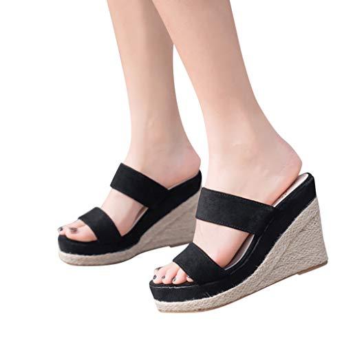Best Buy! Dasuy Women's Platform Wedge Espadrille Sandals Women Suede Open Toe Weaving Flats Slippers Flip Flops Beach Shoes (US:5, Black)