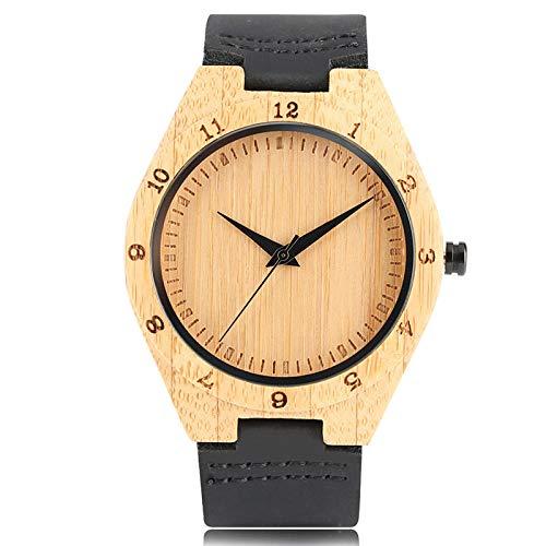 RWJFH Reloj de Madera Reloj de Pulsera de Madera de bambú de Cuarzo Simple para Hombres y Mujeres, diseño de números, Correa de Reloj de Cuero Negro, Reloj Masculino, Regalo