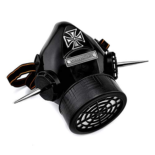 Steampunk Gas Mask Cosplay Costume Spikes Respirator CH05 Black