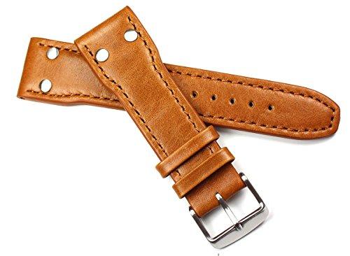 Sulla - Cinturino pilota in vera pelle di vitello, 24 mm, colore: Marrone...