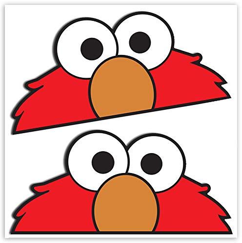 SkinoEu® 2 STÜCK Vinyl Aufkleber Stickers AUTOAUFKLEBER SESAMSTRAßE KRÜMELMONSTR ELMO Cookie Monster LUSTIG Zeichen FÜR Fenster Auto Motorrad Fahrrad Tuning B 100