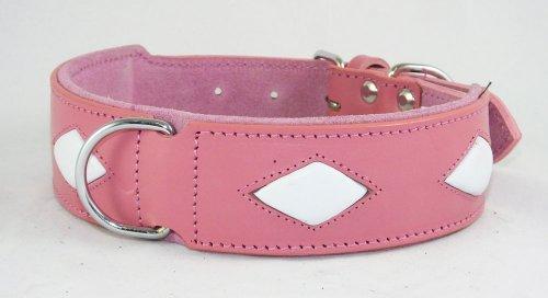 Collier pour chien en cuir rose avec 4 formes Diamant Blanc à installer 48,3–55,9 cm cou