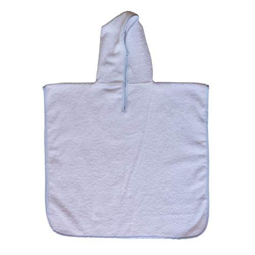 Badponcho badjas van badstof van 100% katoen met capuchon, maat 0-3 jaar, kleur wit en omranding, 380 g