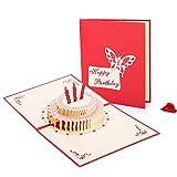 Tarjeta de felicitación de cumpleaños 3D de HOMEWINS con diseño de tarta de cumpleaños, 02