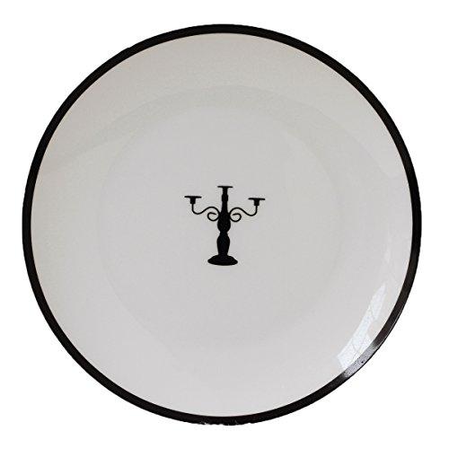 Fine Bone China 20,3cm Brot und Butter Teller, schwarz, Kerze, rund, Icon, Set 4