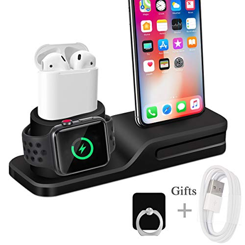 Wonsidary Ständer für Apple Watch 5/4/3/2 Airpods 2/1 und iPhone, 3 in 1 Handy Halter Silikon Ladestation Dock Station für iPhone 11/11Pro/11ProMax/XS/XS Max/XR/X/8/8Plus/7/7 Plus/6/6s Plus/5s/5