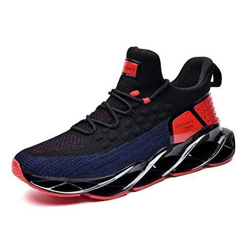 LK LEKUNI Schuhe Herren Laufschuhe Herre Damen Sportschuhe Straßenlaufschuhe Sneaker Joggingschuhe Turnschuhe Walkingschuhe Traillauf Fitness Schuhe-Schwarz Rot2930-43