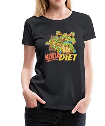 TMNT Turtles Ninja Diet Pizza Frauen Premium T-Shirt, M, Schwarz