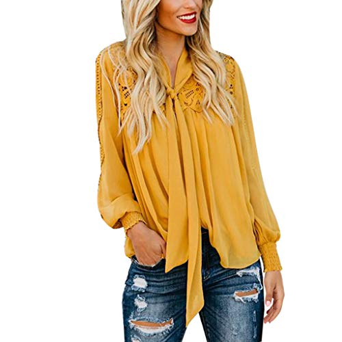 HIKO23 Womens Bow Tie Neck Lange Mouw Casual Office Werk Zakelijke Blouse Shirts Tops