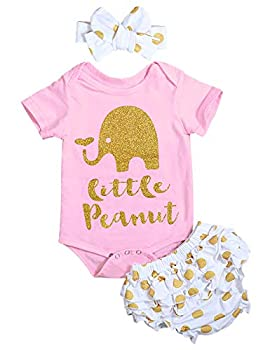 Newborn Baby Girl Summer Clothes Elephant Letters Print Romper + Polka Dots Shorts with Headband 3Pcs Outfit Set Pink  12-18 Months