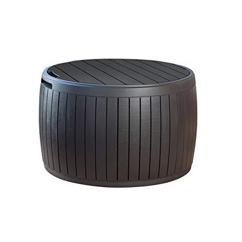 Caja de Cubierta Redonda de 37 galones, Mesa de Patio para Almacenamiento de Cojines al Aire Libre, marrón