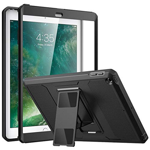 MoKo Case Fit 2018/2017 iPad 9.7 6th/5th Generation - [Heavy Duty] Shockproof Full Body Rugged Hybrid Cover with Built-in Screen Protector Compatible with iPad 9.7 Inch 2018/2017, Black