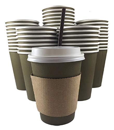 100 Pack 12 Ounce Bulk Disposable Office Coffee Tea Cups with Lids Sleeves Stirrers