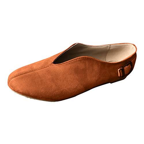 DAIFINEY Damen Mokassin Slipper Loafers Geschlossene Ballerinas Leichte Comfort Schuhe Hüttenschuhe Schlupfschuh Slip on modisch Freizeitschuh Bequeme Flache(1-Braun/Brown,40) 504