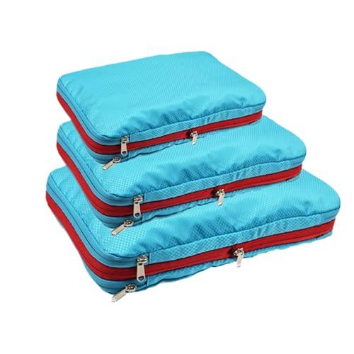 Cubos De Embalaje De Compresión De Doble Capa Organizador De Equipaje De Viaje Organizador De Ropa De Nailon Impermeable Bolsa De Almacenamiento De Zapatos-Juego De 3 Piezas Azul