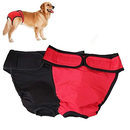 2pcs Lavable Perra Pañal Pantalones Sanitarios Mascotas Fisiológicas Bragas Higiénicas Pañales para Perros de Mediano Grande (XL, Rojo Negro)