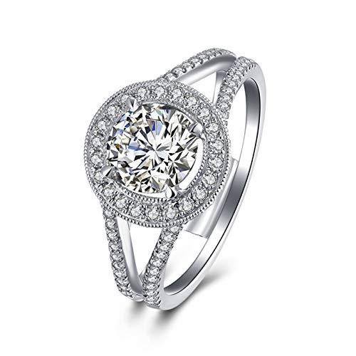 Ubestlove Paarringe Weißsgold Runden Hochzeitsringe Aufbewahrung 0.5Ct Diamant Ringe Größe 68