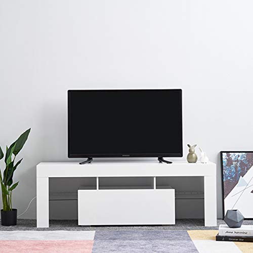 Led TV Cabinets, PALDIN TV Entertainment Unit 130cm Media Television Stand Modern High Gloss TV Cabinet With Large Media Storage Drawer For Living Room (White without LED)