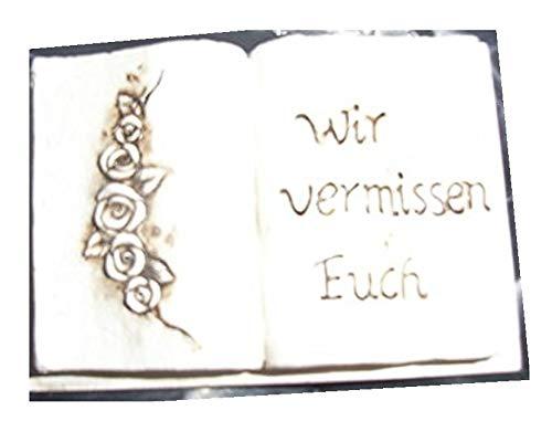 Reinhold 1 x Grabschmuck Buch mit Rosenranke 13 x 9 cm und Inschrift Wir vermissen Euch Liegend und zum Aufstellen, Floristen