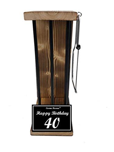 Happy Birthday 40 Geburtstag - Eiserne Reserve ® Black Edition - Rohling zum SELBST BEFÜLLEN - Größe L - incl. Säge - 40 Geburtstag Geschenk Idee für Männer & Frauen Geschenke zum 40 Geburtstag