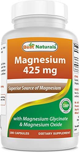 Best Naturals Magnesium 425 mg 180 Veggie Capsules - High Absorption Magnesium Glycinate & Magnesium Oxide Chelated, Non-GMO, Gluten Free Muscle Relax