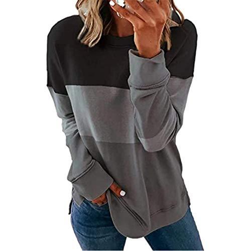 Kathrin Sudadera de mujer de cuello redondo, informal, cuello de punto, jersey de manga larga, para otoño, para ir a la escuela, para ir a casa (S-2XL)