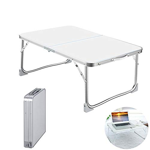 60 x 40cm Laptop Bed Table, Portable Lap Desk with Foldable Legs, Notebook Stand Reading Holder, for Couch Table, Bed Desk, Laptop, Writing, Study, Eating Storage, Reading Stand - White