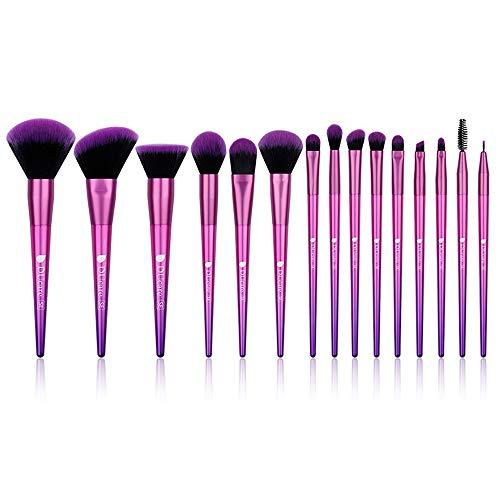 NCTM Pinceau de Maquillage 15 pièces Violet Magnifique Eyeliner Fashion Pinceau Pratique Débutant Fondation Profession Brosse