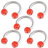 5er set 1,2mm 8mm Hufeisen Edelstahl ohr tragus Stollen augenbrauenpiercing körperschmuck bar Circular Barbell Rot Lippenring BJDQ