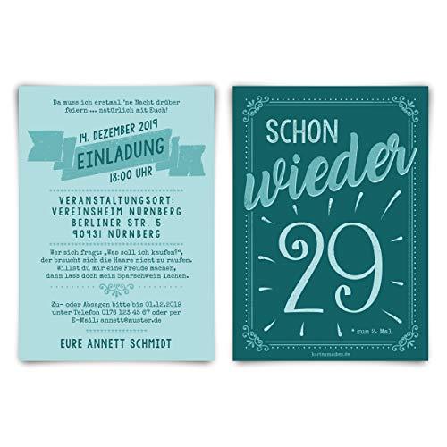 30 x Runder 30. Geburtstag individuelle Einladungskarten Einladungen - schon wieder 29