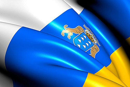 Oedim Bandera de La Comunidad de Las Islas Canarias 85x150cm | Reforzada y con Pespuntes| Bandera de La Comunidad de Las Islas Canarias con 2 Ojales Metálicos