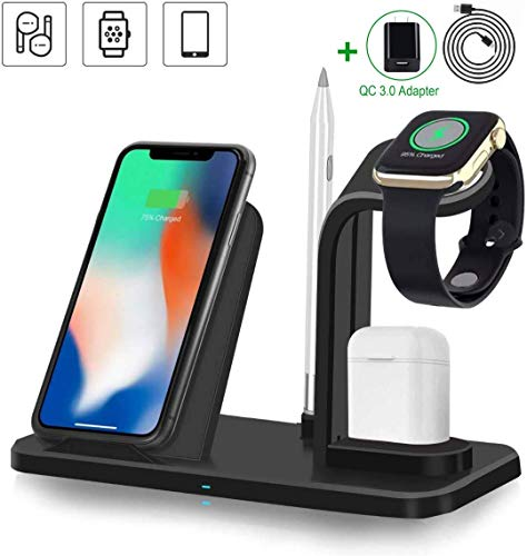 Wireless Charger, 3 in 1 Wireless Charging Station for Apple Watch and Airpods, Fast Wireless Charging Stand Compatible with iPhone 11/11 Pro Max/Xs/XR/X/8/8 Plus(with QC 3.0 Adapter)