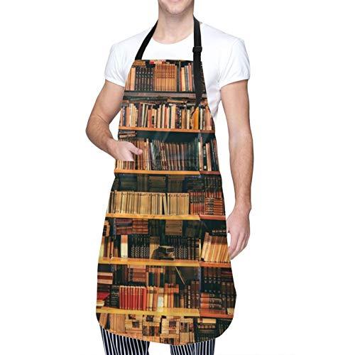 COFEIYISI Delantal de Cocina Biblioteca Estantería Con Libros Estantería Bookworm Delantal Chefs Cocina para Cocinar/Hornear