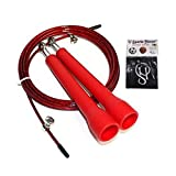 Konex Jump Rope for Skipping Red Colour with Sports House Wrist Band (Adjustable Speed Rope)