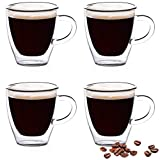 Eparé Espresso Glasses - 2oz Set of 4 Single Shot - Double Walled Demitasse Cups - Mini Mug Shots - Home Barista
