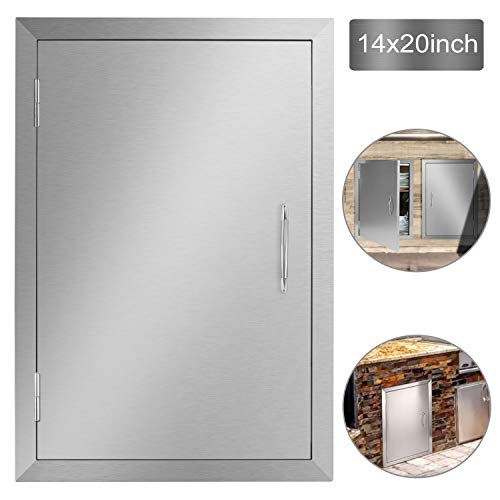 Stainless Steel Single Wall Construction Vertical Door for Outdoor Kitchen Grilling Station or Commercial BBQ Island Seeutek Outdoor Kitchen Doors 14W x 20H Inch BBQ Access Door