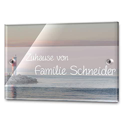 Edles Türschild mit Namen für die Haustür   Namensschild Briefkasten-Schild selbstklebend oder mit Bohrlöcher Klingelschild mit kratzfestem UV Druck   Größe ab 9x6 cm bunte Türschilder