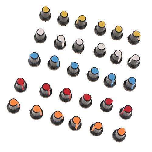30x Kunststoff Poti Knöpfe Für 6mm Potentiometer Drehschalter Encoder 5 Farben