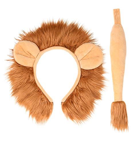 shoperama Juego de accesorios para disfraz de león, diadema con orejas y cola, pelo marrón
