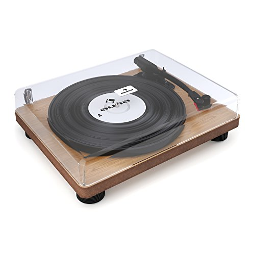 auna TT-Classic WD - Tocadiscos, Reproductor de vinilos, accionamiento por Correa, Puerto USB para Reproducir y digitalizar, 3 velocidades, 33, 45 y 78 RPM, Altavoces estéreo, café