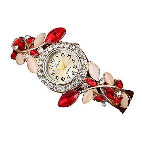 Mujeres Diamantes de imitación pétalo de la Flor del Brazalete de Pulsera con Multi usos aleación Brazalete del Reloj de Pulsera de Lujo, Construido en Rojo de la batería