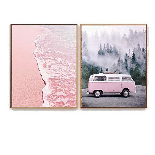 Cuadro decoración salón o dormitorio moderno.Personalizado.Con marco.Diptico,'Caravana + Mar rosa'· Elige tamaño,color del marco y color de imagen.