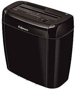Fellowes 36C - Destructora trituradora de papel, corte en partículas, destruye hasta 6 hojas, uso personal,tritura tarjetas de crédito, color Negro