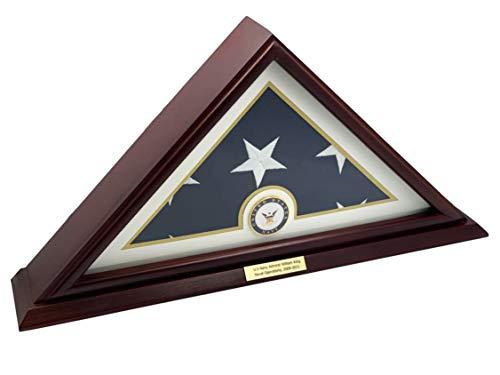 Decomil – 5 x 9 kleine Basis, Beerdigung/Beerdigung/Veteran-Flagge, elegante Vitrine, Massivholz, Kirsch-Finish navy