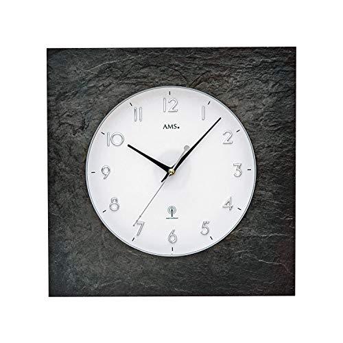 AMS 5546 - Reloj de pared controlado por radio, pizarra natural, esfera blanca, números arábigos y cristal mineral